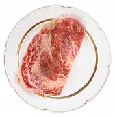 stock photo of wagyu  - Premium quality ribeye steak oiled and peppered for frying - JPG