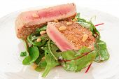 foto of rocket salad  - Lightly seared tuna steak and fresh salad - JPG