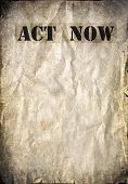 Act now on a vintage background
