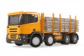 foto of logging truck  - Heavy loaded logging timber truck isolated at the white background - JPG