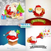 picture of letters to santa claus  - illustration of Merry Christmas background with Santa Claus - JPG