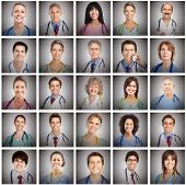 stock photo of surgeons  - Doctor faces set collage - JPG