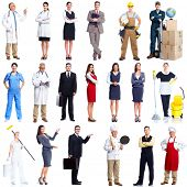 stock photo of teachers  - Workers people set isolated over white background - JPG