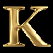 stock photo of letter k  - Golden shining metallic 3D symbol capital letter K  - JPG
