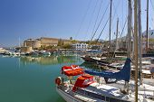 stock photo of mast  - Old harbour and medieval castle in Kyrenia - JPG