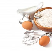 pic of food preparation tools equipment  - Baking ingredients closeup on the white background - JPG