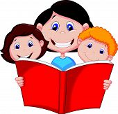 image of storybook  - Vector illustration of Cartoon Mother reading book to her children - JPG