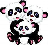 Panda bear family cartoon