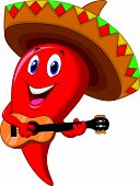 stock photo of sombrero  - Vector illustration of Chili pepper mariachi cartoon wearing sombrero playing a guitar - JPG