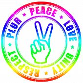 foto of rastaman  - Peace hippy symbol isolated on white background - JPG