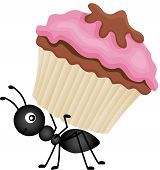 picture of ant  - Scalable vectorial image representing a ant carrying cupcake - JPG
