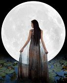 stock photo of night gown  - Water fairy walking into the moon - JPG