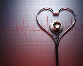picture of heartbeat  - Stethoscope in shape of heart on a graph of the patient - JPG