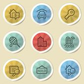 Real estate web icons, color vintage stickers
