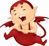 picture of misbehaving  - Illustration of a Little Devil Clutching His Stomach in Laughter - JPG