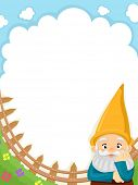 image of gnome  - Background Illustration of a Garden Gnome Set Against Clear Blue Skies - JPG