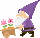 stock photo of dwarf  - Illustration of a Gnome Pushing a Cart Carrying Flower Pots - JPG