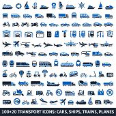 stock photo of ski boat  - 100 AND 20 Transport blue icons - JPG