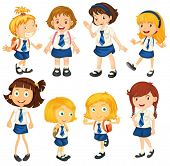 foto of playmate  - Illustration of the eight schoolgirls in their uniforms on a white background - JPG
