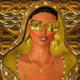 stock photo of incognito  - A gold hoodie gives this sexy club girl the incognito look she wants along with her shades that reflect the city skyline - JPG