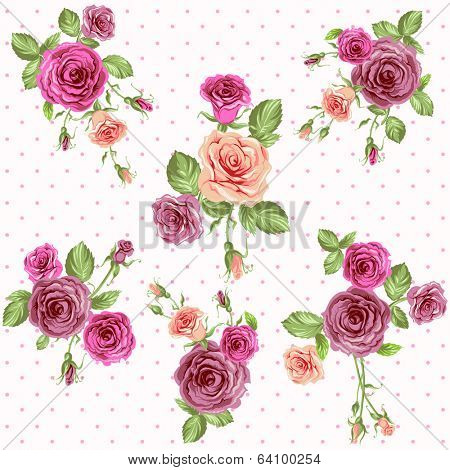 Vintage floral seamless pattern. Roses vector background