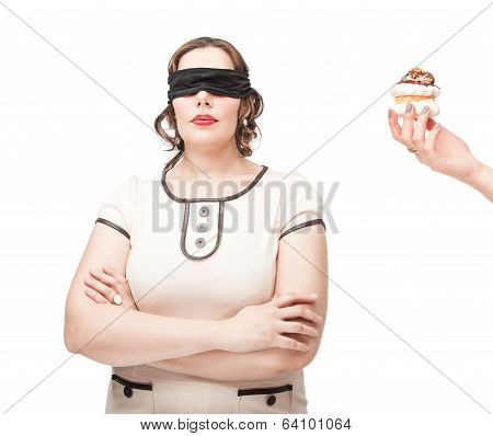 Blindfold Plus Size Woman Temptating With Pastry