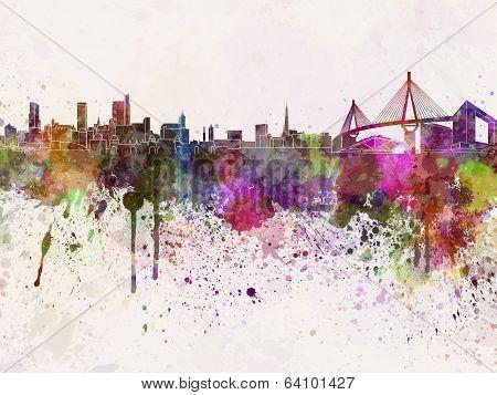 Hamburg Skyline In Watercolor Background