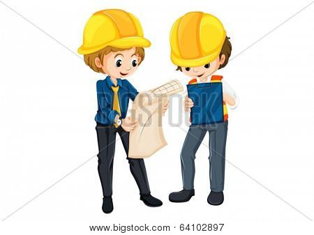 Illustration of the two engineers planning on a white background