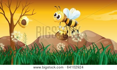 Illustration of a bee flying going to the beehive