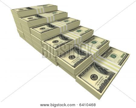 Dollar Stacks Arranged As A Stairway Isolated