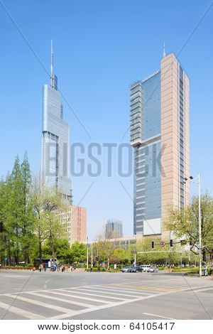 Nanjing,China-April 7,2014:Zifeng Tower is a 89-story, 450-metre (1,480 ft) supertall skyscraper completed in 2009.Photo is taken on April 7,2014 in Nanjing, Jiangsu, China.