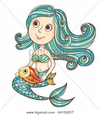 Mermaid with fish isolated on white