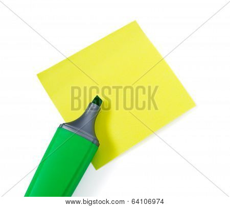 Green Highlighter On Yellow Stikers