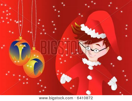 Santa Claus little boy and light bulbs