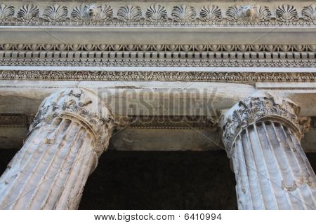 Colums Of The Temple Of Hadrian In Piazza Di Pietra (rome, Italy)