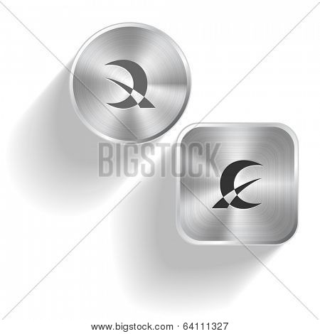 Abstract monetary sign. Vector set steel buttons