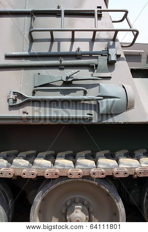 military vehicle with tools