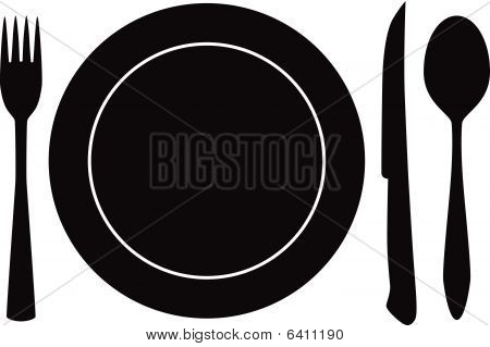 plateful, fork, spoon and knife silhouette vector