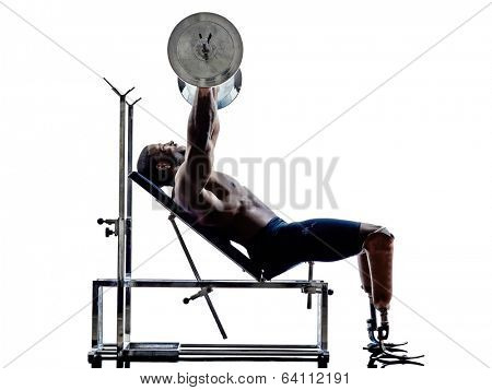 one muscular handicapped man body builders building weights with legs prosthesis in silhouettes on white background