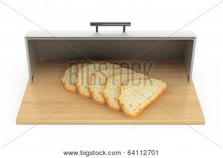 Modern Steel Bread Bin With Pieces Of Bread