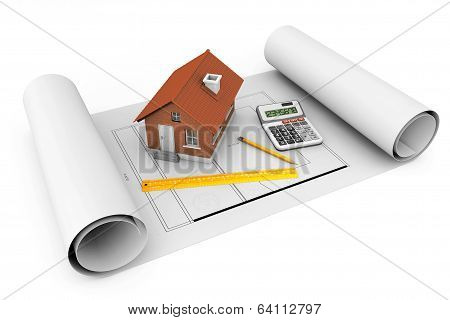 3D House With Tools Over Architect Blueprints