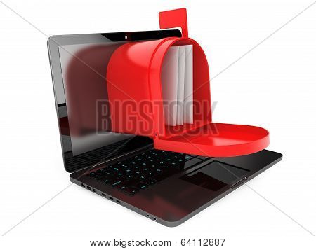 Opened Red Mail Box Over Laptop Screen