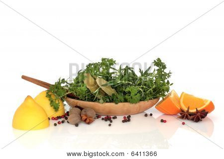 Herbs, Spices And Fruit Selection