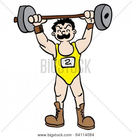 weight lifter cartoon illustration
