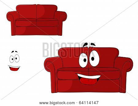 Fun cartoon upholstered red couch
