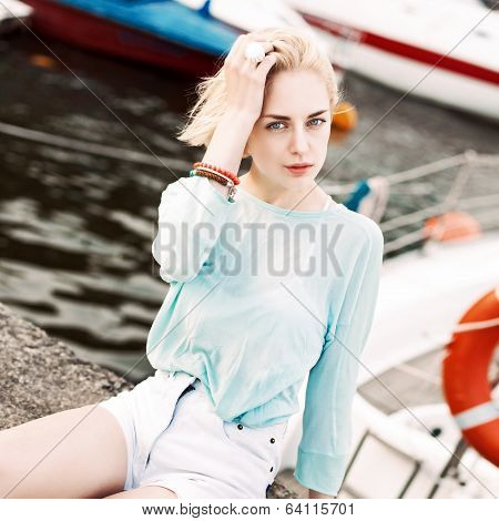 Beautiful Girl At Sea Pier