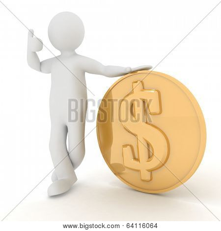 3d man rely on dollar. Render illustration