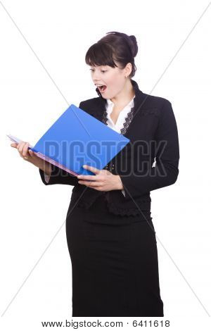 Brunette Business Woman Is Shocked By The Finances Account.