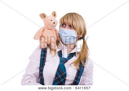 Pig Flu Virus.schoolgirl With Mask Is Afraid Pig