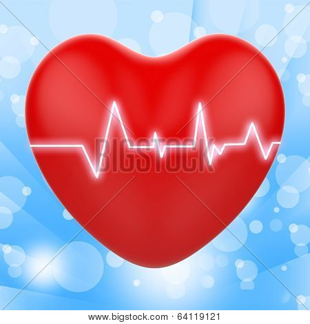 Electro On Heart Shows Passionate Relationship Or Heartbeats